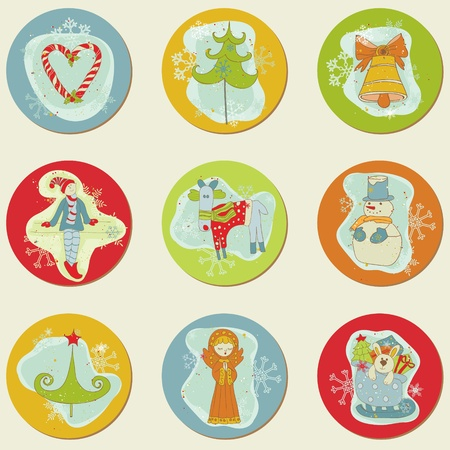 hand bells: Christmas Stickes - design elements for scrapbook, invitation, greetings