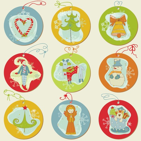 Christmas Tags - design elements for scrapbook, invitation, greetings Vector
