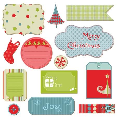 Conjunto de Etiquetas de Navidad y los elementos - para el dise�o y bloc de notas en el vector Vectores