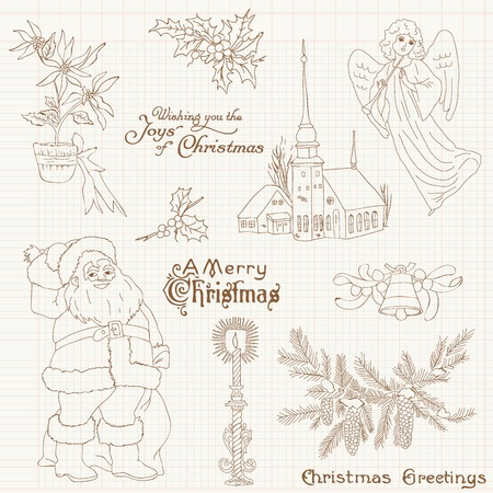Christmas Vintage Design Elements - for scrapbook, invitation, greetings Vector