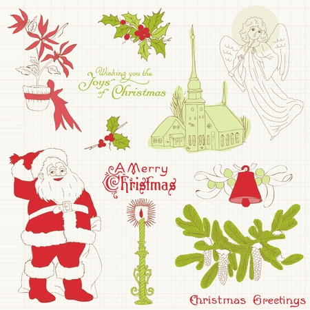 Christmas Vintage Design Elements - for scrapbook, invitation, greetings Vector