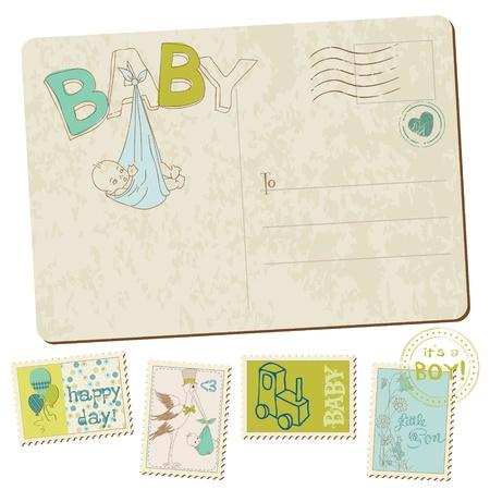 Vintage Baby Boy Arrival Postcard in vector Vector