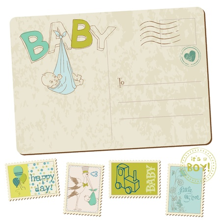birth announcement: Vintage Baby Boy Arrival Postcard in vector