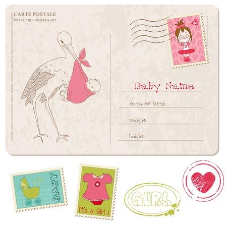 우표 세트 여자 아기 샤워 카드 일러스트
