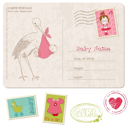 mother and baby son: Baby Girl Shower Card with set of stamps