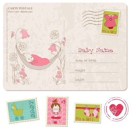 baby shower party: Baby Girl Shower Card with set of stamps
