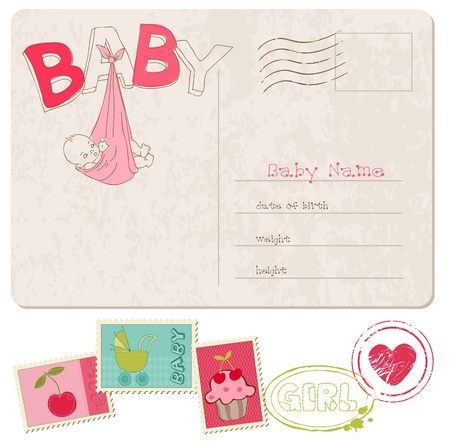 Baby Girl Shower Card with set of stamps Vector