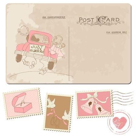 heiraten: Postkarte und Briefmarken - für Hochzeit Design, Einladung, Gratulation, Gästebuch