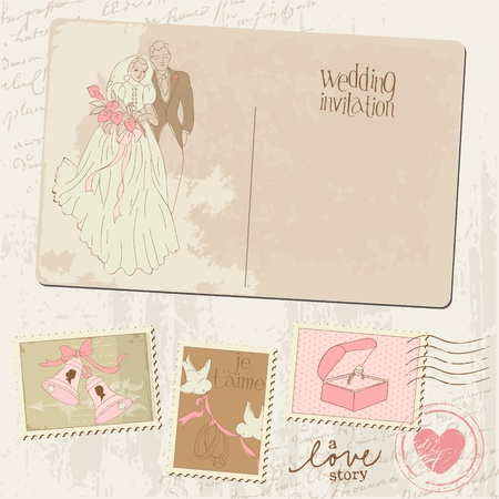 Vintage Postcard and Postage Stamps - for wedding design, invitation, congratulation, scrapbook Stock Vector - 11211360