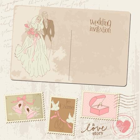 Vintage Postcard and Postage Stamps - for wedding design, invitation, congratulation, scrapbook Vector
