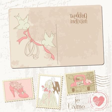 postal vintage: Tarjeta postal de �poca y los sellos - para el dise�o de la boda, invitaciones, felicitaciones, �lbum de recortes