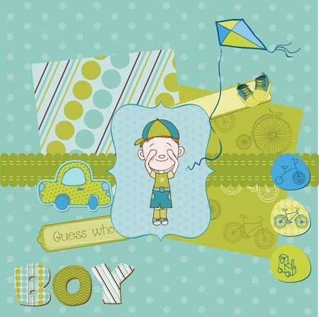 Scrapbook design elements - Cute Baby Boy Set Vector