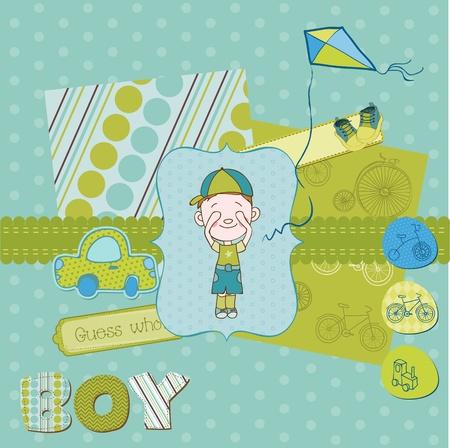 Scrapbook design elements - Cute Baby Boy Set Vector