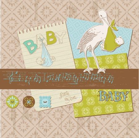 old stamp: Scrapbook Vintage design elements - Baby Boy Announcement