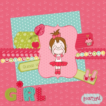 Scrapbook design elements - Cute Baby Girl Set Vector