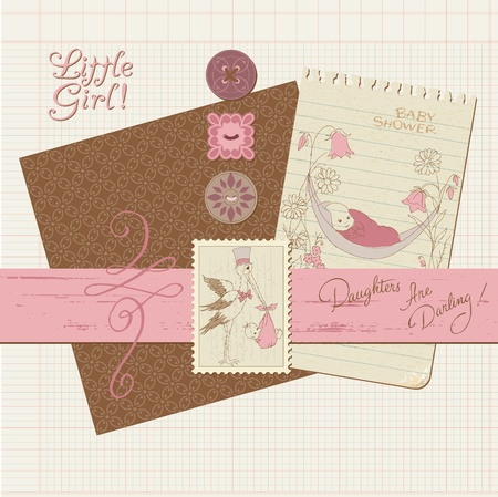 baby shower girl: Scrapbook Vintage design elements - Baby Girl Announcement Illustration