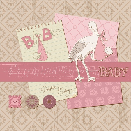 copybook: Scrapbook Vintage design elements - Baby Girl Announcement Illustration