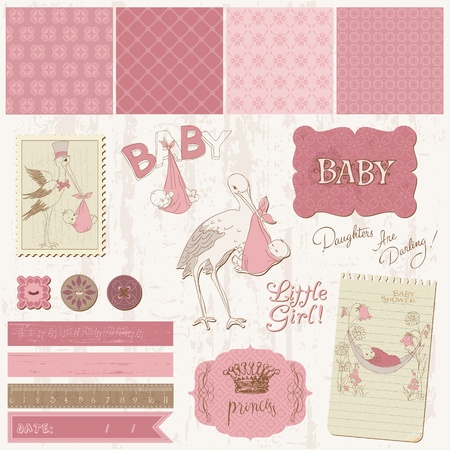 Scrapbook Vintage design elements - Baby Girl Announcement Stock Vector - 11211370