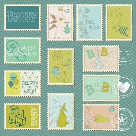 baby scrapbook: Baby Boy Postage Stamps - arrival, announcement, congratulation Illustration