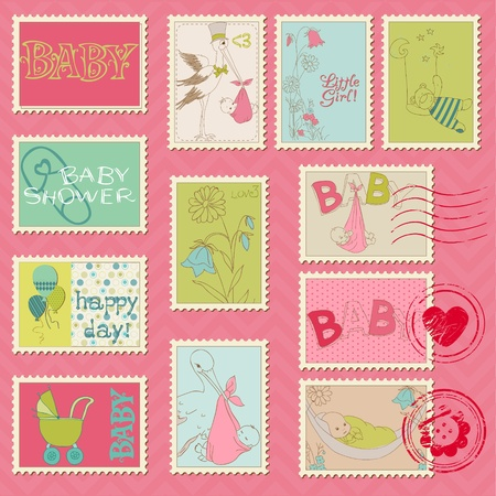 Baby Girl Postage Stamps - for scrapbook, invitation, congratulation Stock Vector - 11211356