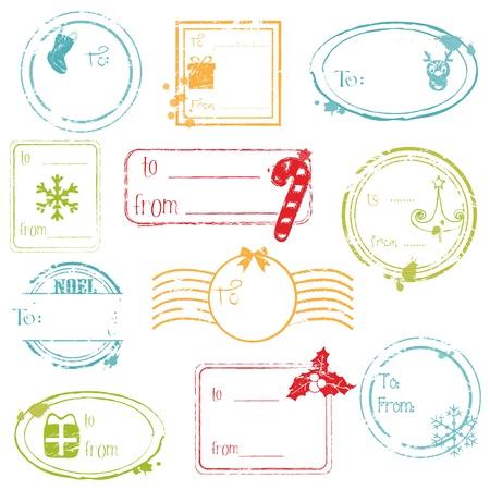 Regalo de Navidad Tags Collection - gran conjunto de su diseño, bloc de notas, invitación