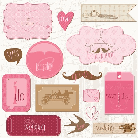 scrapbook element: Romantische Hochzeit Tags und Design-Elemente-for Einladung, scrapbook in vector Illustration