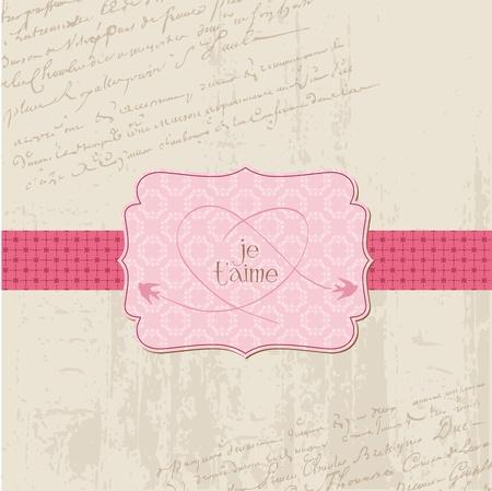 Vintage Wedding Love Card - for design, invitation, congratulation, scrapbook Vector