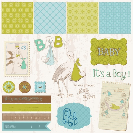 baby boy announcement: Scrapbook Vintage design elements - Baby Boy Announcement