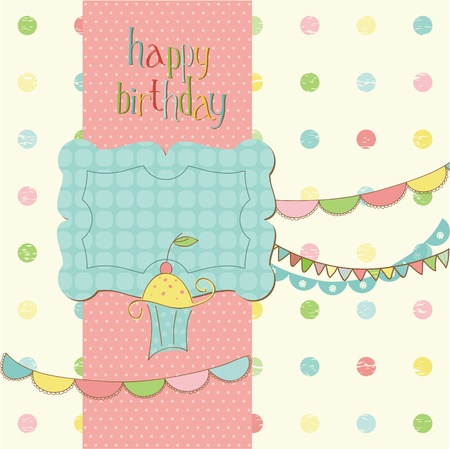 happy birthday text: Greeting Birthday Card with Cute cake - with place for your text or photo Illustration