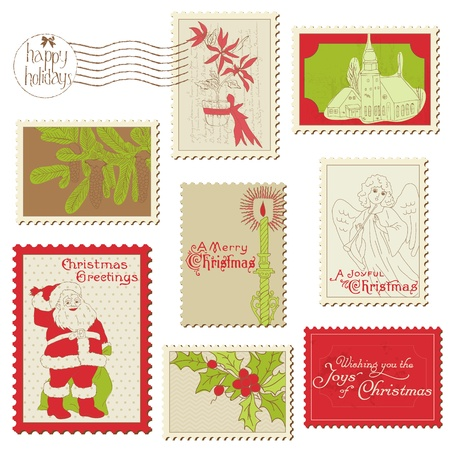 Christmas Vintage Stamp Collection - great set for your design, scrapbook, invitation Stock Vector - 11480345