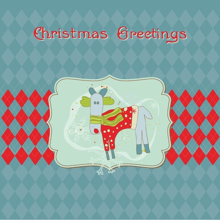 Christmas Card with Funny Rudolf- for invitation, greetings, scrapbook Vector