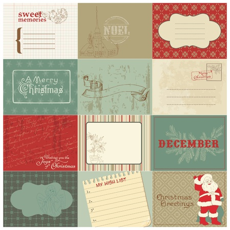 Set of Christmas Vintage Design Elements in vector Vector