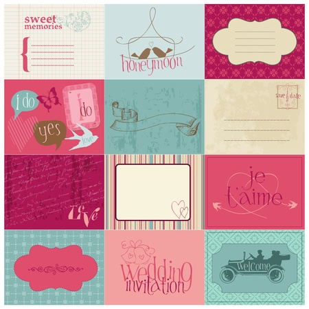 wedding cake: Wedding Design Elements -for invitation, scrapbook in vector Illustration