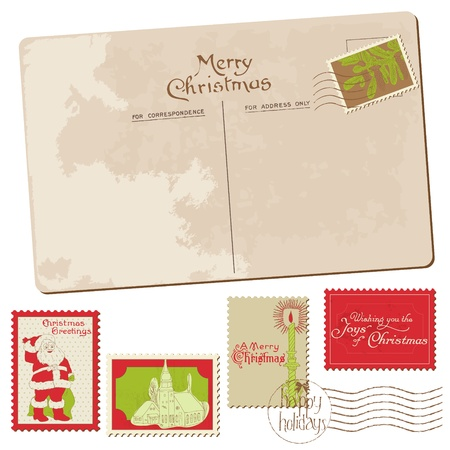 Vintage Christmas Postcard with Stamps - for scrapbook, design, invitation, greetings Vector
