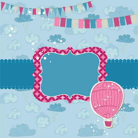 Party Card with Air balloon - for invitation, congratulation, scrapbook Vector