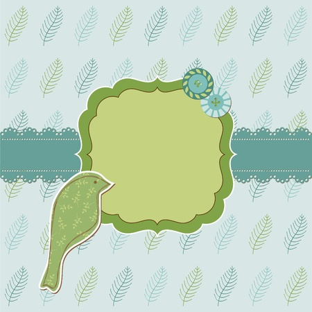 Beautiful Floral Card with Bird and place for your text or photo  in vector Stock Vector - 11480502