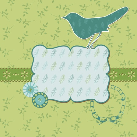 Beautiful Floral Card with Bird and place for your text or photo  in vector Stock Vector - 11480503