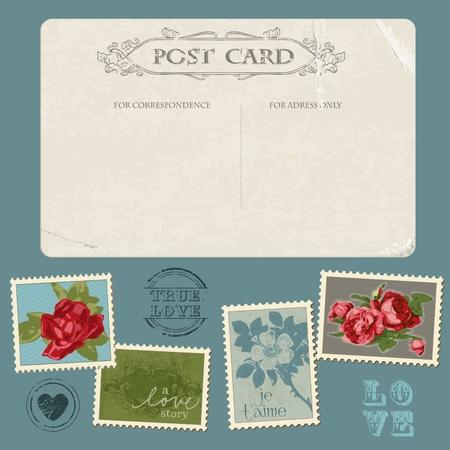 postcard vintage: Vintage Postcard with Flower Stamps - for invitation, congratulation in vector
