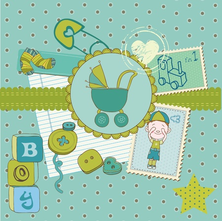Scrapbook Baby shower Boy Set - design elements Vector