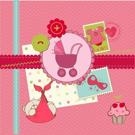Álbum de recortes bebé ducha Chica Set - elementos de diseño