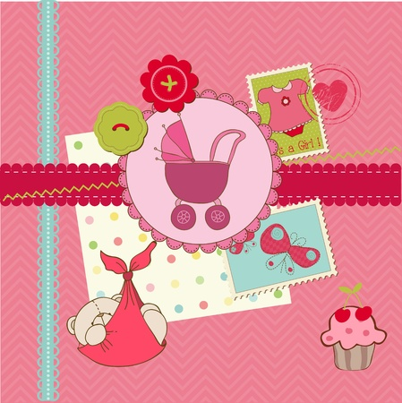 baby shower girl: Scrapbook Baby shower Girl Set - design elements Illustration