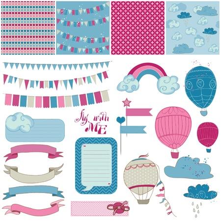 papel scrapbook: �lbum de recortes elementos de dise�o - para fiestas, globos y paraca�das