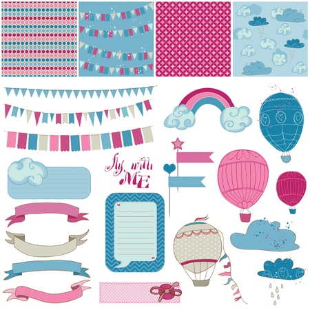 baby scrapbook: Scrapbook Design Elements - Party, Balloons and Parachute Illustration