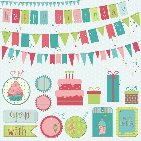 Retro Birthday Celebration Design Elements - for Scrapbook, Invitation in vector Vector