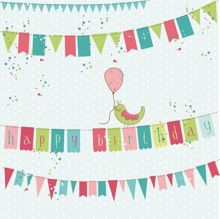 벡터 새와 레트로 생일 카드
