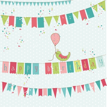 Retro Birthday Card with Bird in vector Vector