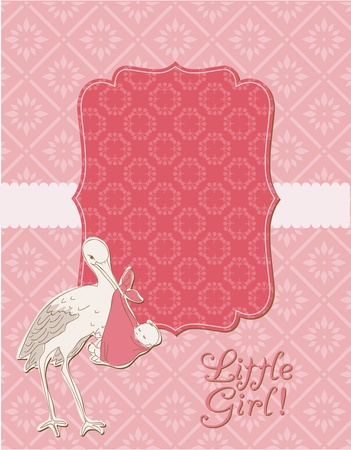 baby announcement: Baby Girl Arrival Card with Photo Frame in vector