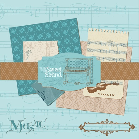 Scrapbook design elements - Vintage Music Set Vector