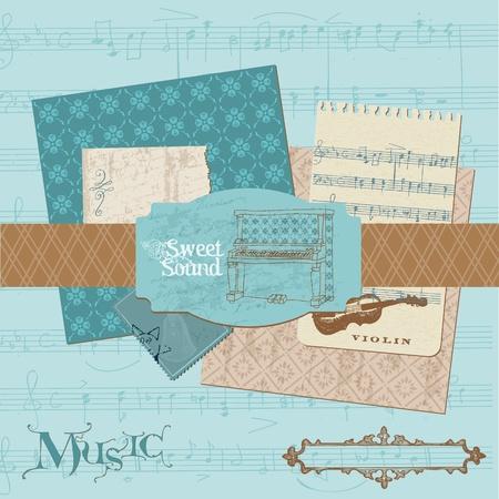 Scrapbook design elements - Vintage Music Set Vector