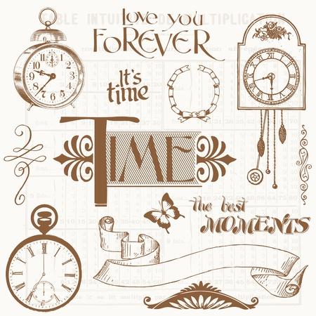 ferraille: �l�ments de conception Scrapbook - moment de la vendange et les horloges Illustration